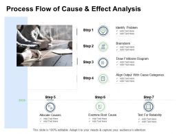 Fishbone Analysis Business Process Flow Of Cause And Effect Analysis Categories Ppt Visual Aids