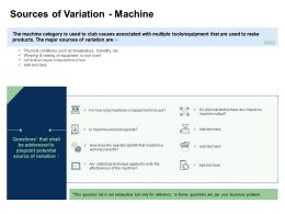Fishbone Analysis Solving Business Sources Of Variation Machine Machine Output Ppt Model