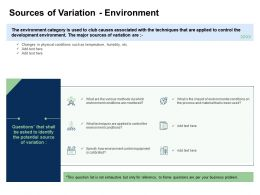 Fishbone Analysis Sources Of Variation Environment Environment Conditions Ppts Microsoft