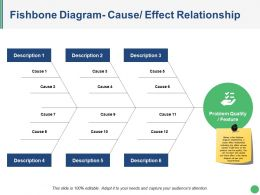 Fishbone Diagram Cause Effect Relationship Ppt Slides Download
