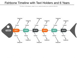 Fishbone Timeline With Text Holders And 6 Years