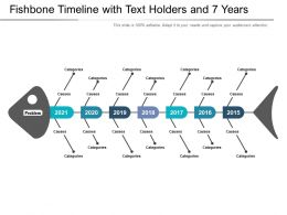 Fishbone Timeline With Text Holders And 7 Years