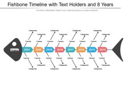 Fishbone Timeline With Text Holders And 8 Years