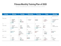 Fitness Monthly Training Plan Of 2020