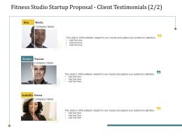Fitness Studio Startup Proposal Client Testimonials L2227 Ppt Powerpoint Information