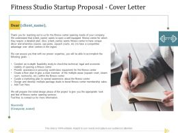 Fitness Studio Startup Proposal Cover Letter Ppt Powerpoint Presentation Ideas