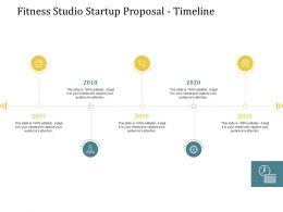 Fitness Studio Startup Proposal Timeline Ppt Powerpoint Presentation Layouts Brochure