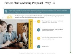 Fitness Studio Startup Proposal Why Us Ppt Powerpoint Presentation Ideas Graphics