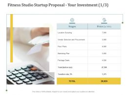 Fitness Studio Startup Proposal Your Investment L2228 Ppt Powerpoint Templates