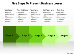 five  steps to prevent business losses powerpoint diagram templates graphics 712
