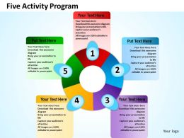five activity program powerpoint templates graphics slides 0712