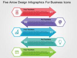 Five Arrow Design Inforaphics For Business Icons Flat Powerpoint Design
