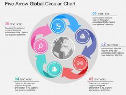 Five Arrow Global Circular Chart Flat Powerpoint Design