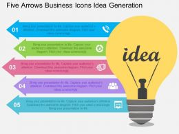five_arrows_business_icons_idea_generation_flat_powerpoint_design_Slide01