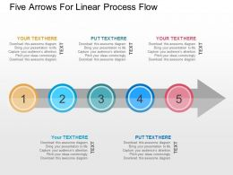Five Arrows For Linear Process Flow Flat Powerpoint Design