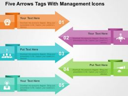 Five Arrows Tags With Management Icons Flat Powerpoint Design