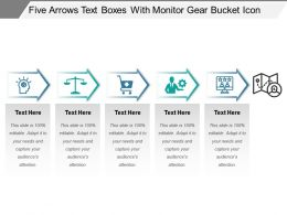 Five Arrows Text Boxes With Monitor Gear Bucket Icon