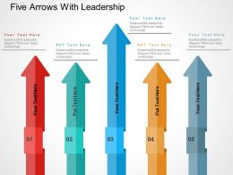 Five Arrows With Leadership Flat Powerpoint Design