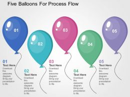 Five Balloons For Process Flow Flat Powerpoint Design