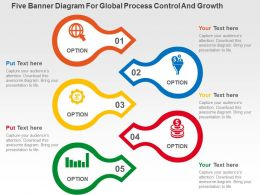 Five Banner Diagram For Global Process Control And Growth Flat Powerpoint Design