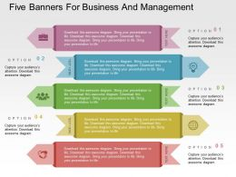 Five Banners For Business And Management Flat Powerpoint Design