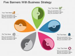 Five Banners With Business Strategy Flat Powerpoint Design