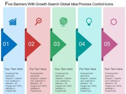 Five Banners With Growth Search Global Idea Process Control Icons Flat Powerpoint Design