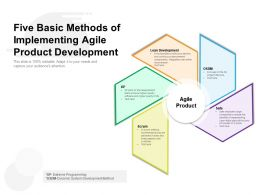 Five Basic Methods Of Implementing Agile Product Development