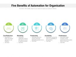 Five Benefits Of Automation For Organisation