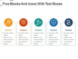 Five Blocks And Icons With Text Boxes