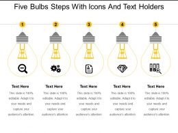 Five Bulbs Steps With Icons And Text Holders
