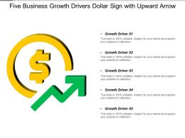 Five Business Growth Drivers Dollar Sign With Upward Arrow