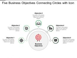 Five Business Objectives Connecting Circles With Icon