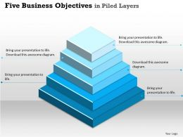 Five Business Objectives Powerpoint Template Slide