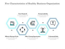Five Characteristics Of Healthy Business Organization