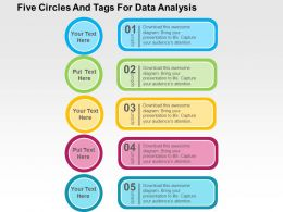 Five Circles And Tags For Data Analysis Flat Powerpoint Design