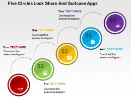 Five Circles Lock Share And Suitcase Apps Flat Powerpoint Design
