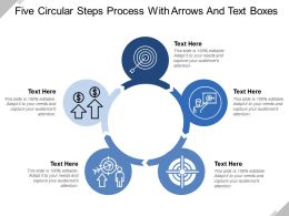 Five Circular Steps Process With Arrows And Text Boxes