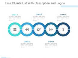 Five Clients List With Description And Logos Powerpoint Slide Template