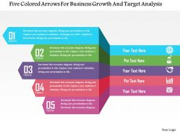 Five Colored Arrows For Business Growth And Target Analysis Flat Powerpoint Design