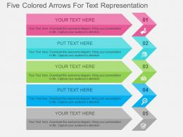 Five Colored Arrows For Text Representation Flat Powerpoint Design