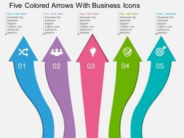 Five Colored Arrows With Business Icons Flat Powerpoint Design