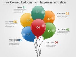 Five Colored Balloons For Happines Indication Flat Powerpoint Design