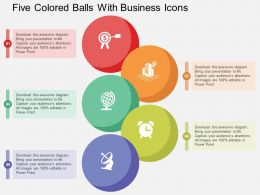 Five Colored Balls With Business Icons Flat Powerpoint Design