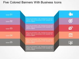 five_colored_banners_with_business_icons_flat_powerpoint_design_Slide01