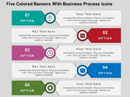 Five Colored Banners With Business Process Icons Flat Powerpoint Design