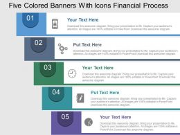 Five Colored Banners With Icons Financial Process Flat Powerpoint Design