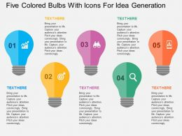 Five Colored Bulbs With Icons For Idea Generation Flat Powerpoint Design
