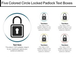 Five Colored Circle Locked Padlock Text Boxes1