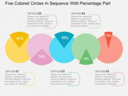 Five Colored Circles In Sequence With Percentage Part Flat Powerpoint Design